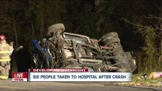 Mom, children rushed to hospital after crash