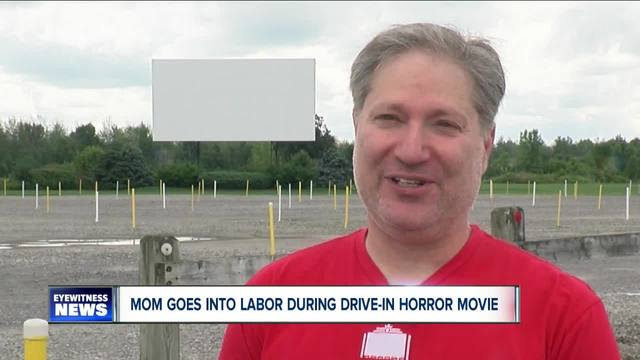 A drive-in theater in New York helped a woman who went into labor during a horror movie