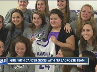 Young cancer survivor joins NU lacrosse team