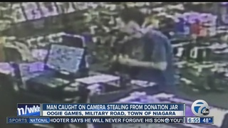 Man caught on camera stealing donation jar