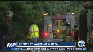 Water main break caused by Lockport fire