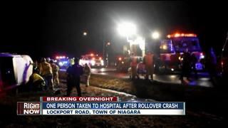 One hospitalized after rollover crash