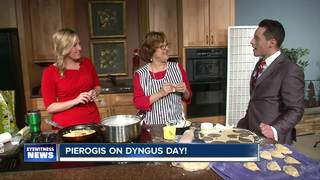 Katie's mom joins us to make pierogi