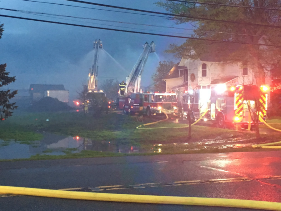 fire crews responding to massive barn fire in orchard park