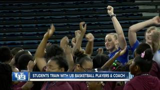 Students spend day with UB Basketball teams