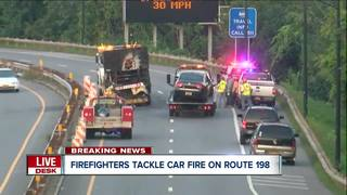 Car hits vehicle, catches on fire on Route 198