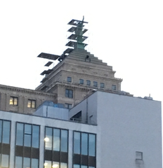 Touch-up time atop the Liberty Building