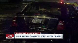 Four sent to hospital after three car crash