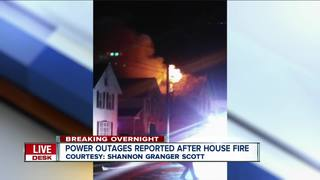 Power outages reported after overnight fire
