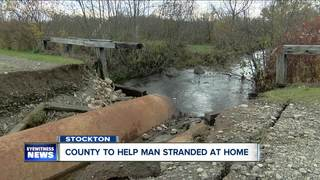 Flooding leaves Stockton man stranded in home