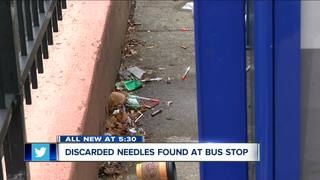 Discarded needles found at downtown bus stop