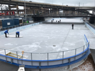 Crews prepare to open ice at Canalside