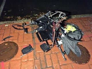 Mangled wheelchair left behind, man to ECMC