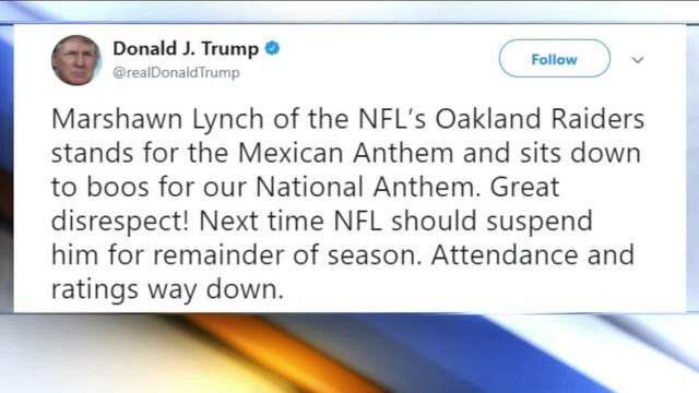 Trump slams Lynch for anthem protest