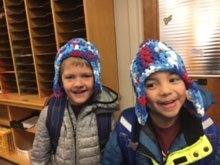 School bus driver make hats for students