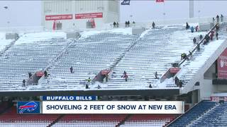 New Era Field Stadium snow cleanup