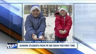 Dunkirk students from PR see snow for first time