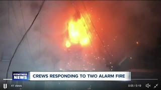 Firefighters work three-alarm fire near Wegmans