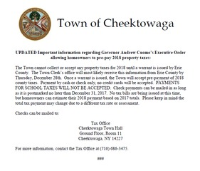 Cheektowaga reminds residents about tax payments