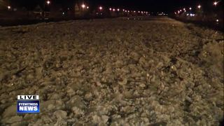 Crews clearing ice jam flooding