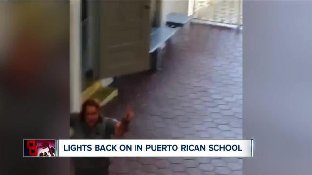 Puerto Rico school erupts in joy when power returns after 112 days