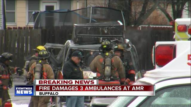 Fire destroys ambulance at AMR Headquarters