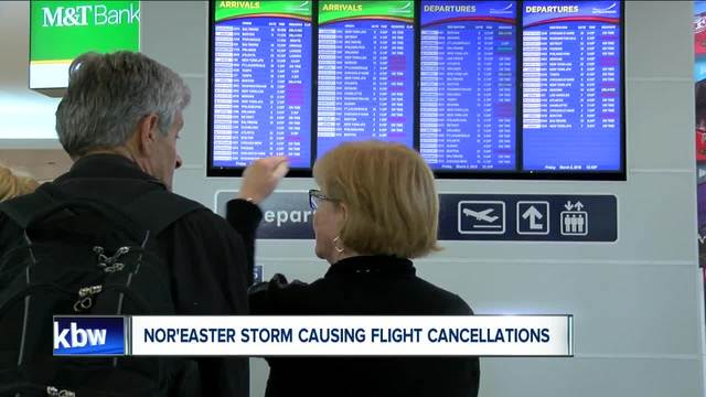 Bradley Airport reports flight cancellations due to storm