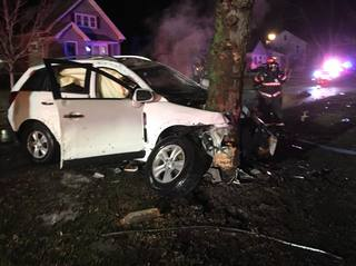 Teen hospitalized with head injury after crash