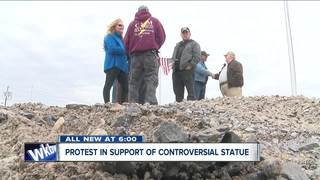 Group protesting in support of WWII Statue