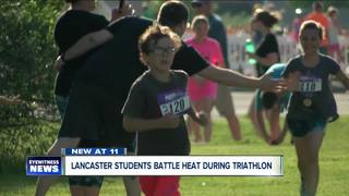 Lancaster students battle heat during triathlon