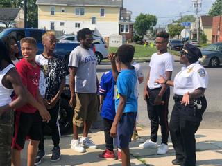 Buffalo Police Officers take kids to Bills game