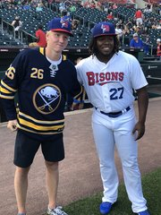 Dahlin throws out first pitch at Bisons game